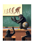 A Humorous View of the Reverse Evolution of Man - Poster