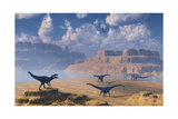 Diplodocus Dinosaurs Being Stalked by a Carnivorous Allosaurus Prints