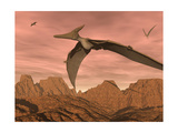 Three Pteranodon Dinosaurs Flying Above Rocky Landscape Art