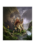 A Stegosaurus Is Surprised by an Allosarous While Feeding in a Lush Gorge Poster
