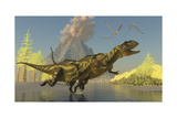 Yangchuanosaurus Dinosaurs Running across a Stream as a Volcano Erupts Prints