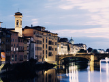 Bridge across River Arno at Dusk Photographic Print by Gary Yeowell