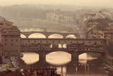 Italy, Tuscany, Florence, Ponte Vecchio and Arno River with Bridge Photographic Print by Jeff Spielman