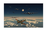 B-29 Superfortress Planes under Attack from Japanese Nakajima Ki-84 Fighter Planes Posters
