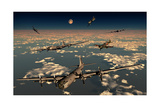 B-29 Superfortress Planes under Attack from Japanese Nakajima Ki-84 Fighter Planes Art