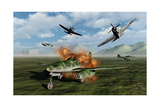 P-47 Thunderbolts Attacking a German Messerschmitt 262 Jetfighter Prints