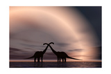 The Silhouetted Forms of a Pair of Courting Sauropod Dinosaurs Prints