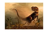 A Torvosaurus on the Prowl While a Group of Ornitholestes Flee a Hasty Retreat Kunstdrucke