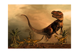 A Torvosaurus on the Prowl While a Group of Ornitholestes Flee a Hasty Retreat Art