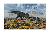 Tyrannosaurus Rex Feeding on a Triceratops Carcass Posters
