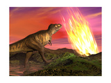 Tyrannosaurus Rex Observes a Meteorite Crashing into Earth Prints