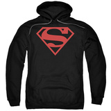 Hoodie: Superman - Red On Black Shield Pullover Hoodie