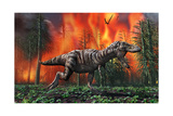 Tyrannosaurus Rex Fleeing from a Deadly Forest Fire Posters