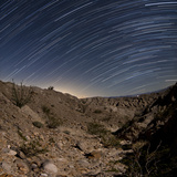 Star Trails over the Rugged Canyon in Anza Borrego Desert State Park, California Photographic Print