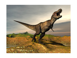 Tyrannosaurus Rex Dinosaur Walking in Desert Landscape Posters