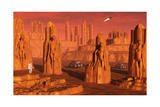 A Team of Explorers from Earth Exploring Mars Ancient Monuments Posters