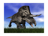 Zuniceratops Dinosaur Running in the Grass Posters