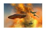 German Messerschmitt 262 Jetfighter Planes Chasing a Ufo Posters