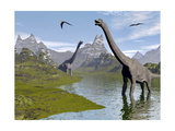 Brachiosaurus Dinosaurs Walking in a Stream on a Beautiful Day Prints