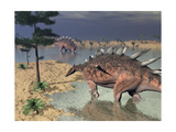 Kentrosaurus Dinosaurs Walking in the Water Next to Sand and Trees Prints