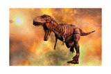 Tyrannosaurus Rex Running from a Deadly Fire Storm Prints