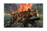 A Saber-Toothed Tiger Running Away from a Forest Fire Art