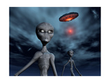 Grey Aliens and their Flying Saucer, Visiting Earth Posters