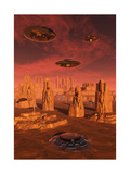Members of the Planets Advanced Civilization Leaving Mars Prints