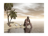 Male Homo Erectus Sitting Alone on a Beach Island Next to Coconuts Prints