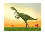 Gigantoraptor Dinosaur on Green Grass by Sunset Prints