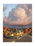Two Velociraptors in their Scary Car Cruise a Prehistoric Landscape Prints