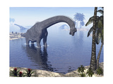 Brachiosaurus Dinosaur Walking in Water by Morning Light Prints
