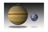 Artist's Depiction of the Size Relationship Between Earth and Gliese 1214B Posters