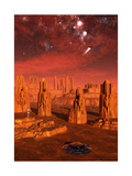 An Advanced Race Exploring the Ancient Relics of a Martian Civilization Print