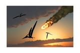Pteranodons in Flight, Unaware of the Danger That a Crashing Asteroid Is About to Bring Stampe
