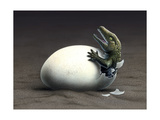 An Early Dinosaur Ancester, Seymouria, Hatches from an Egg Poster