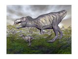 Tyrannosaurus Rex Mother and Offspring Posters