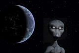 A Grey Alien with Planet Earth in the Background Posters