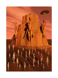 Martians Gathering around a Monument Dedicated to their Ancestors Print