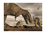 Tyrannosaurus Rex Roaring at Two Triceratops on Rocky Terrain Poster