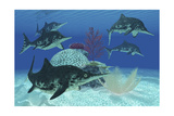 A Group of Large Ichthyosaurus Marine Reptiles Swimming in Prehistoric Waters Posters