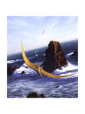 A Pteranodon Soars Above the Ocean and Rocks Poster