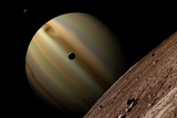 Artist's Depiction of a Gas Giant Planet Surrounded by Three Moons Prints