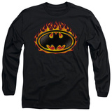 Long Sleeve: Batman - Bat Flames Shield T-Shirt