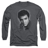 Long Sleeve: Elvis Presley - Grey Portrait T-Shirt