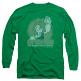 Long Sleeve: Popeye - Green Energy T-Shirt