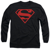Long Sleeve: Superman - Red On Black Shield T-shirts