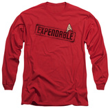 Expendable wording, long sleeve star trek red shirt apparel