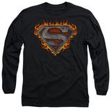 Long Sleeve: Superman - Iron Fire Shield T-Shirt