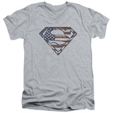 Superman - War Torn Flag V-Neck T-shirts